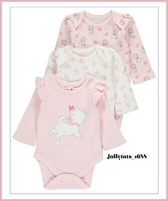 Baby Girls Disney Clothing Aristocats Marie Character 3 Pack Sleeved Bodysuits