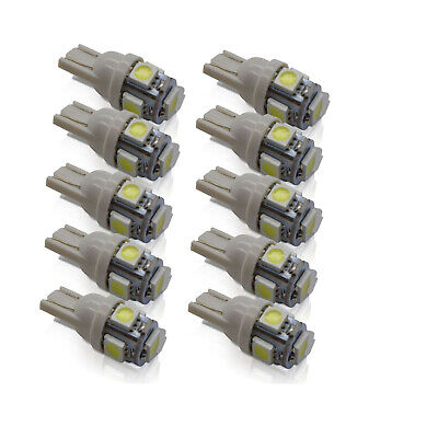 10x SMD LED 501 T10 W5W PUSH WEDGE CAPLESS BRIGHT WHITE SIDE LIGHT BULBS LOOK