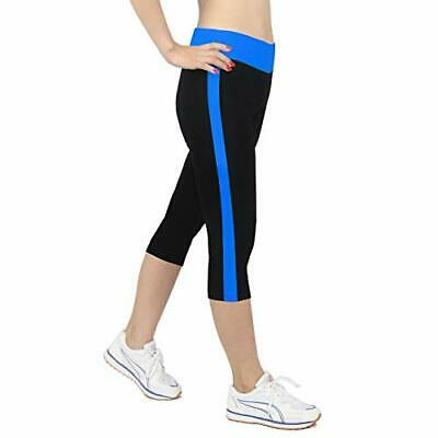 eb73c97958dda0 iLoveSIA Women's Tights Capri Yoga Running Pants Leggings Black+Cobalt Blue  M