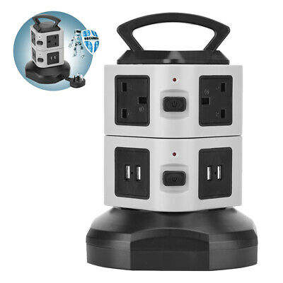 6Way Extension Lead Cable Surge Protected Tower Power Socket with USB Port
