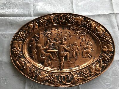 Large Vintage french copper embossed high relief wall decorative offer platter