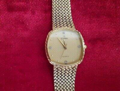 Cyma Vintage Gold 80s Mens Unisex Watch with 4 Diamonds. V Rare.