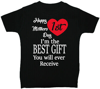 Happy 1st Mothers Day Baby Children T-Shirt Top 0-3M-5y Boy Girl Acce Mummy Gift