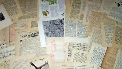 Lot 200 Plus Vintage Book Pages Collages Arts Crafts Ephemera Maps #117 Collage Supplies