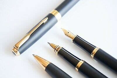 BAOER #388 Matte Black Ballpoint/Rollerball/Fountain Pen Set Arrow F Nib GT
