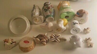 Vintage Junk Drawer Lot of 14 Small Pottery Ceramic Porcelain Cups & Figurines