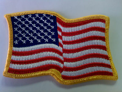 48 - Embroidered Patch - Waving American Flag - Iron On  Gold Border USA US U.S.