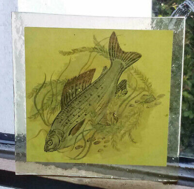 Stained Glass Grayling Fish - Kiln fired hand transfer fragment pane fishing!