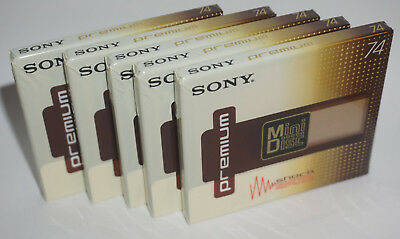 5x Sony Premium Mini Disc 74min in Originalverpackung NOS NEW