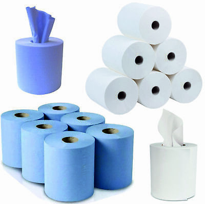 150m 2Ply Centre Feed BLUE / WHITE Paper Hand Towels Tissue Wipe Rolls Kitchen