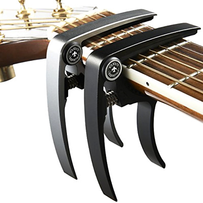 Nordic Essentials Aluminum Metal Universal Guitar Capo, 1.2 oz (2 Pack) - Black