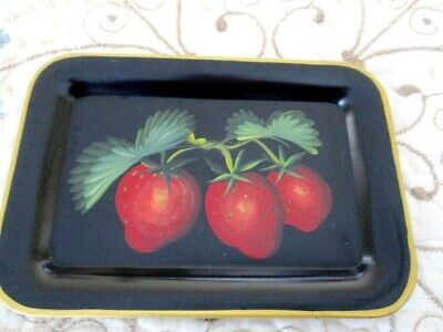 Vintage Hand Painted Red Strawberry Mid Century Country Kitchen Fruit Tole Tray