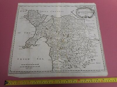 100% Original Large North Wales  Map By Robert Morden C1695 Low Post