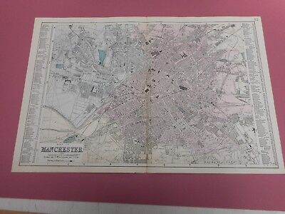 100% Original Large Scale Manchester  City Map  By  Bacon C1886 Vgc