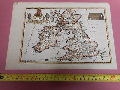100% Original Roman England And Wales Map By Burghers C1722 Scarce Hand Coloured