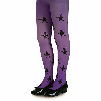 Purple Tights With Black Witches On Broom Sticks , Book Week Age 11-14