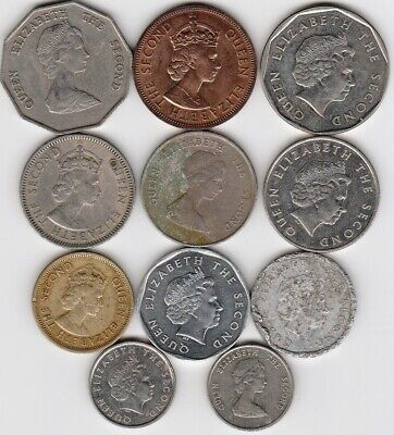 11 different world coins from EASTERN CARIBBEAN