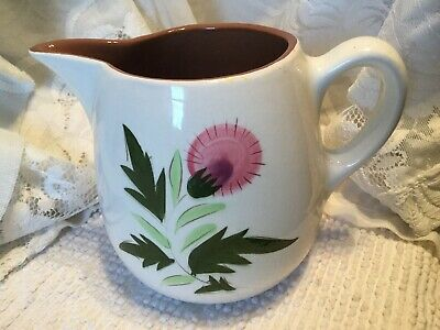 STANGL POTTERY TRENTON NJ 40 oz PINK GREEN BROWN THISTLE Pitcher 5 1/4""