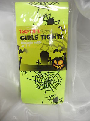 Neon Yellow Tights With Black Spiders And Webs Halloween Fancy Dress 4-6