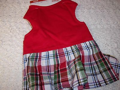 Plaid CAT Dress Costume Christmas new Small puppy pet Petco XS O/S dog holiday