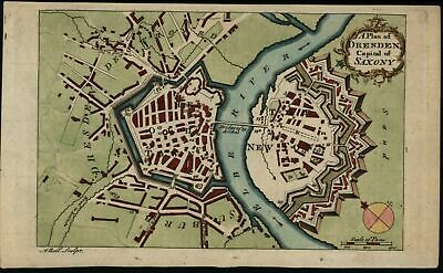 Dresden Germany ca. 1770 Saxony fine old Bell antique city plan map