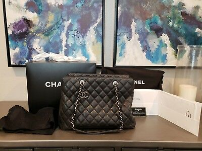 21dc028ca735 AUTHENTIC CHANEL City Shopping Tote Quilted Caviar Large black/ruthenium