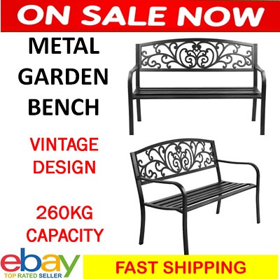 Outdoor Bench Garden Park Chair Seat Cast Iron Metal Family Patio Home 260KG