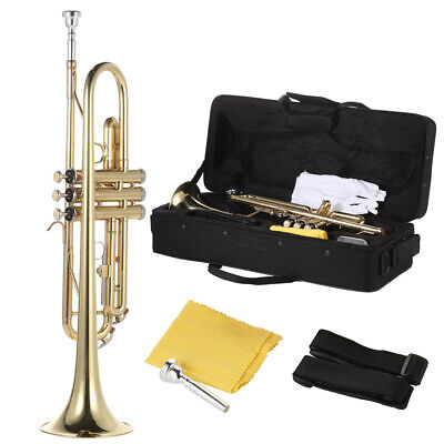 Trumpet Bb B Flat Brass Gold with Mouthpiece Strap Gloves Case B0F4
