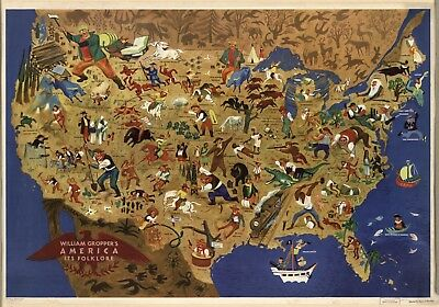 1945 Folklore Music Map of the United States POSTER 7863000