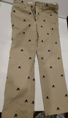 8a7a15ef Rugby Ralph Lauren Khaki Skulls Embroidered University Chinos. 30/30 RARE!