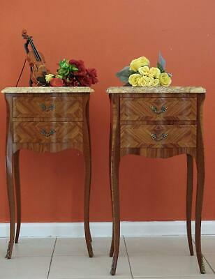 Antique /Vintage French Louis XV Bed side/ Lamp Tables  Cabinets Walnut  Marble