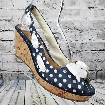 bef3becd6e7d SPERRY TOP-SIDER Women s Blue   White Polka Dot Wedge Sandals US Size 9.5 M