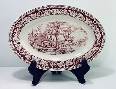 Homer Laughlin Currier & Ives Red China Relish Gravy Underplate Winter Scene