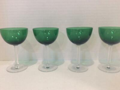Set of Four Vintage 1950's Deco Fostoria Forest Green Neo Classic Cocktail Stems