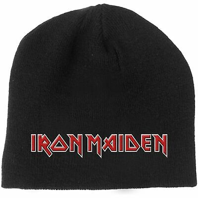 6b3e8b5c1a2 Iron Maiden Beanie Hat classic Band Logo Book of Souls new Official Black