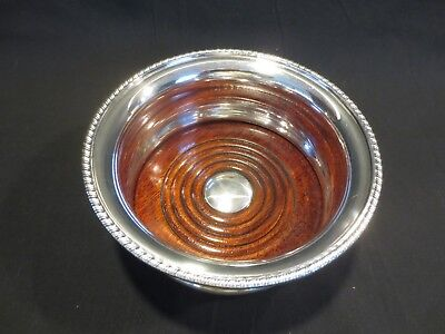 Reed & Barton  Silverplate Wine Coaster with Wood Insert EUC 5.25 Inch Diameter