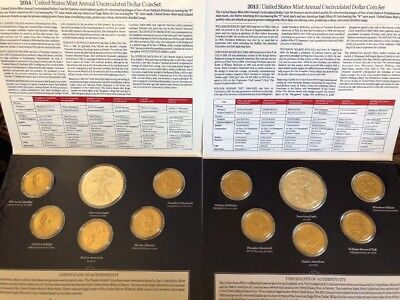 2013 & 2014 United States Mint Annual Uncirculated Dollar Coin Sets