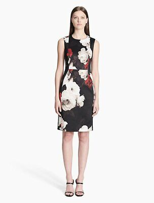 911c9c4d87997 Calvin Klein NWT Elegant FIRE MULTI Floral Printed Scuba Sheath Dress size 2
