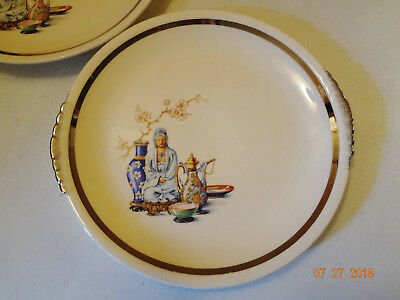 Lot of 2 Vintage Paden City Pottery Asian Design Plates - Made in USA