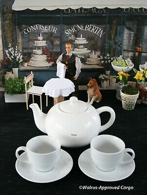 Pottery Barn Ceramic Teapot + Cups/Saucers -New- Pour Yourself A Spot Of Chic!
