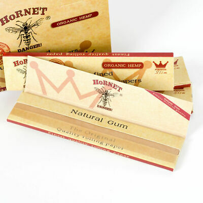 Hornet Natural Unrefined Organic Hemp Rolling Papers King Size Slim X 3 Packs