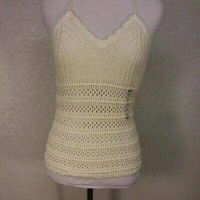 412623ab34 Old Navy Crocheted Halter Top Size Small Cream Cover Up Boho Festival wear  NWT