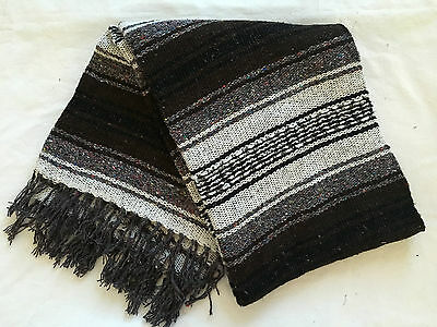 """Authentic Brown Mexican Falsa Blanket Hand Woven Yoga Mat Blanket 72""""x 54"""""""