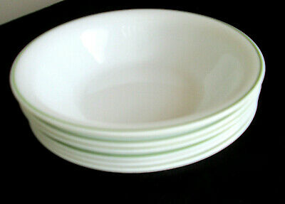 6 Corelle Medium Green Ring Soup / Cereal / Salad Bowl 7 1/4""