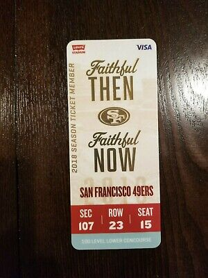 San Francisco 49ers 2018 Season Ticket Member Ticket To All Games Hard Plastic