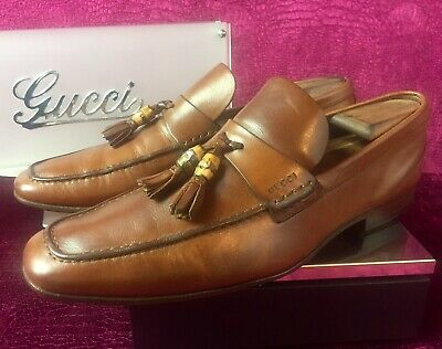 f1804fa3d $680.00 Mens Brown Leather Gucci Bamboo Tassel Loafers Sz 8 US / 41 EU / 7