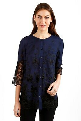 Joseph Ribkoff Navy/Black Button-Down Floral Embroidery Tunic Top 184520 NEW