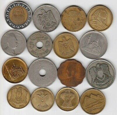 16 different world coins from EGYPT