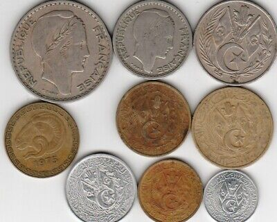 9 different world coins from ALGERIA some scarce
