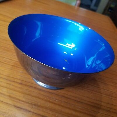Vintage Reed & Barton Silver Plate Blue Enamel Pedestal Bowl, No. 1120 and Tag